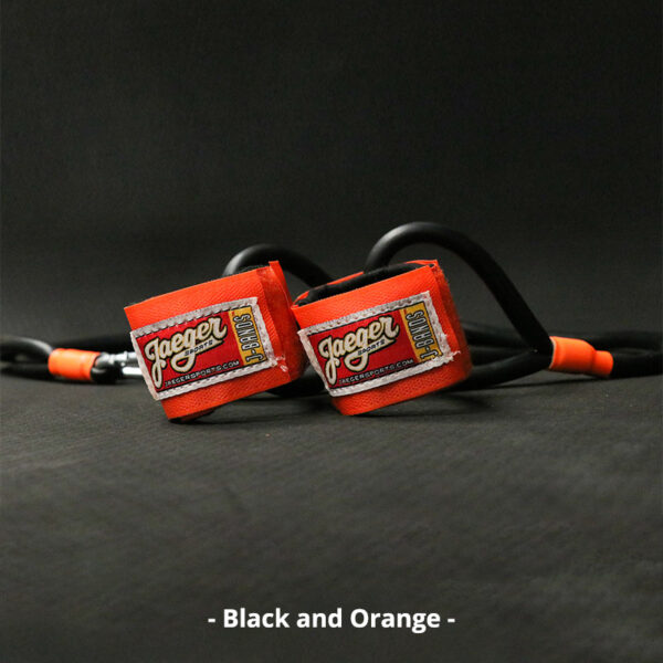 J-Bands™ Elite arm care and baseball conditioning bands with black bands and orange straps