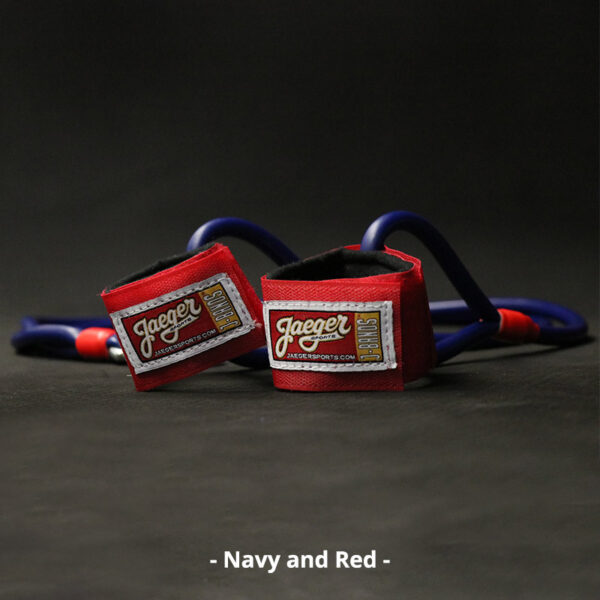J-Bands™ Elite arm care and baseball conditioning bands with navy bands and red straps