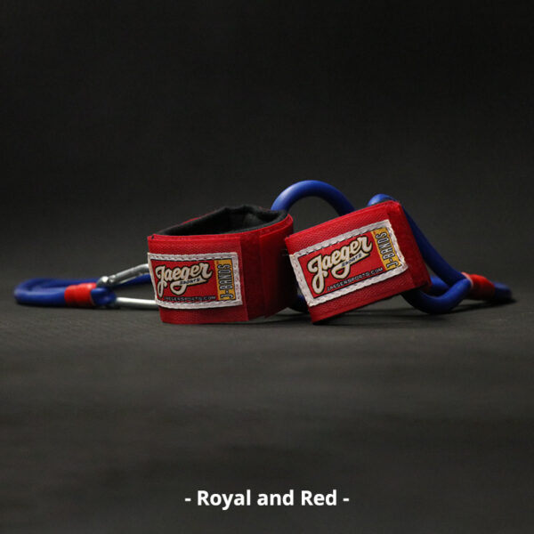 J-Bands™ Elite arm care and baseball conditioning bands with royal blue bands and red straps